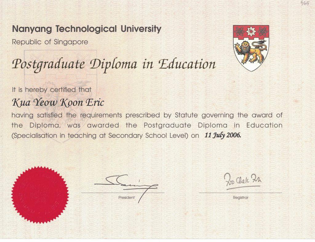 PGDE - Postgraduate Diploma in Education Certificate